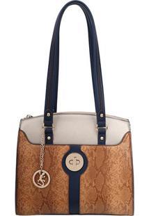 Bolsa Animal Print Com Bag Charm- Azul Marinho & Laranjafellipe Krein