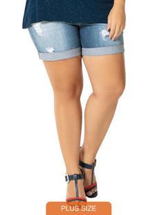 Bermuda Azul Jeans Comfort Cintura Média