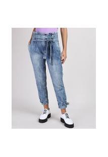 Calça Jeans Feminina Mom Clochard Cintura Super Alta Marmorizada Com Faixa Para Amarrar Azul Médio