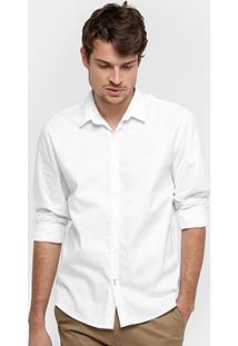 Camisa Social Calvin Klein Slim Fit Manga Longa Masculina - Masculino