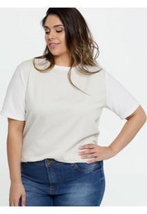 Blusa Feminina Lurex Plus Size Manga Curta