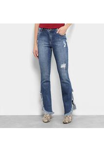 Calça Jeans Bootcut Morena Rosa Fenda Destroyed Feminina - Feminino-Única