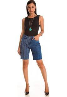 Bermuda Jeans Express Thay - Feminino-Azul