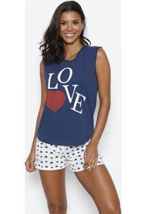 Short Doll ''Love'' - Azul Marinho & Brancozulai