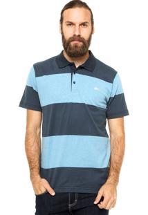 Camisa Polo Manga Curta Quiksilver Tropics Large Azul