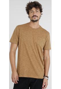 Camiseta Masculina Com Bolso Manga Curta Gola Careca Caramelo