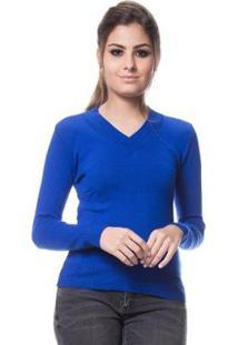 Blusa Tricot Feminina Logan Básica Linha Lycra - Feminino-Azul Royal