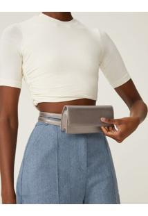 Amaro Feminino Bolsa Belt Bag Flap, Prata
