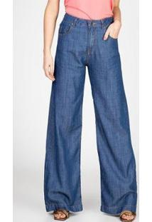 Calça Jeans Leve Pantalona Liocel Bloom Feminina - Feminino
