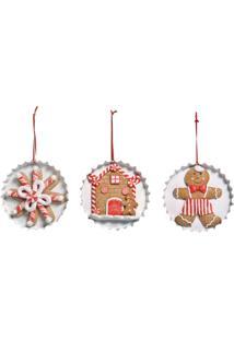 Enfeite Natal Decorativo Ginger Bread Branco E Vermelho 10Cm