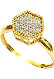 Anel Prata Mil De Ouro Com Zircônia Ouro - Kanui