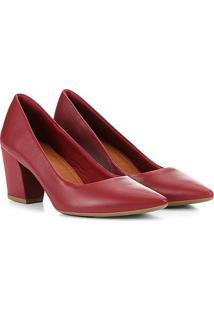 Scarpin Usaflex Salto Grosso Feminino - Feminino-Vermelho Escuro