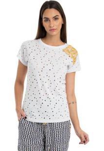 T-Shirt Moikana Malha Perfurate - Feminino-Branco