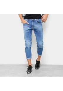 Calça Jeans Cropped Preston Barra Dobrada Masculina - Masculino