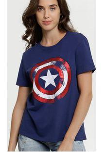 Blusa Feminina Estampa Capitão América Metalizada Marvel