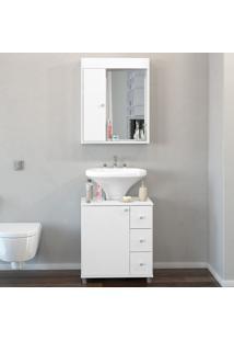 Armário De Banheiro 2 Portas 3 Gavetas Branco Bp - Politorno