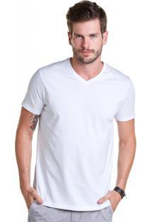 T-Shirt Buckman Básica Gola V Branco