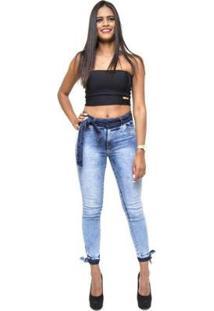 Calça Jeans Cheris Skinny Manchada Daya Feminina - Feminino-Azul