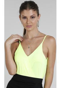 Body Feminino Transpassado Blusê Alça Fina Decote V Amarelo Neon