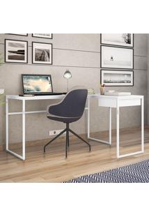 Mesa Para Computador Com Tampo Mdp Érica-Brastubo - Branco / Branco
