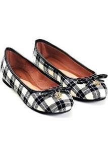 Sapatilha Scotland Mizzi Shoes Tecido Xadrez Feminina - Feminino-Preto