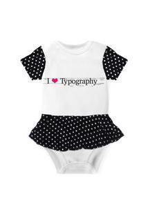Body Com Saia Nerderia E Lojaria I Love Typography Branco..