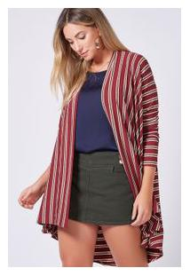 Cardigan Canelado Listra Do Lurex Vinho