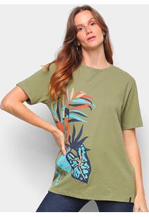 Camisetas Cantão Feminino Tshirt Boyfriend Arara -526037 - Feminino-Verde Escuro