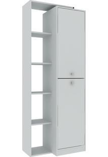 Estante Para Livros 70 Cm 2 Portas Branco Tx/Branco Tx - Hecol