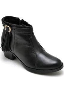 Bota Couro D&R Shoes Feminina - Feminino-Preto
