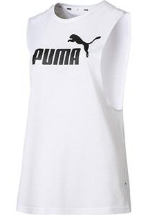 Regata Puma Essentials+ Cut Off Tank - Unissex-Branco