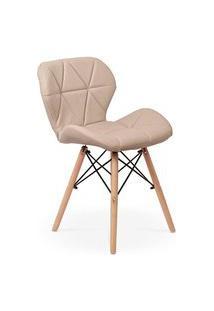 Cadeira Charles Eames Eiffel Slim Wood Estofada - Nude