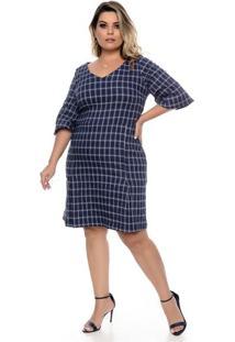 Vestido Xadrez Marinho Plus Size