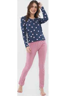 Pijama Hering Gatos Azul-Marinho/Rosa