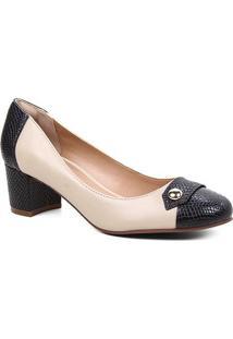 Scarpin Couro Shoestock Snake Salto Bloco Médio - Feminino-Preto+Bege