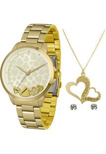 Kit Relógio Analógico Lince Feminino + Colar Com Brincos - Lrg4571L Kx94C1Kx Dourado