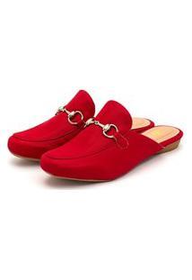Sapato Mule Feminino Anna Andrade Sapatilha Bico Redondo Casual Vermelho
