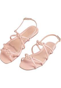 Sandalia Rasteira Love Shoes Nó Infinito Nude