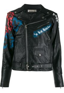 Night Market Aloha Biker Jacket - Preto