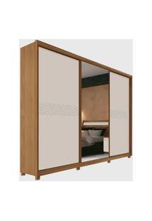 Guarda Roupa Murano Plus 3 Portas Desliz. C/ Espelho Freijó/Off-White Móveis Fazzio