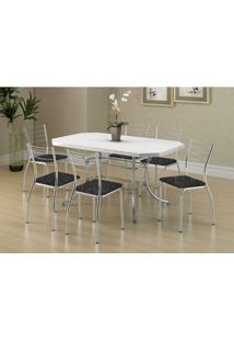 Mesa 1507 Branca Cromada Com 6 Cadeiras 1700 Fantasia Preto Carraro