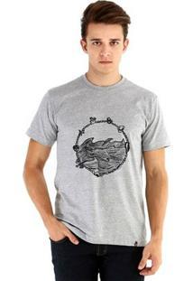 Camiseta Ouroboros Manga Curta Emergir Masculina - Masculino-Cinza