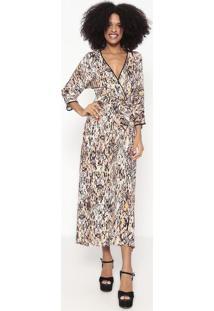 Vestido Longo Animal Print Com Amarração - Preto & Bege Wool Line