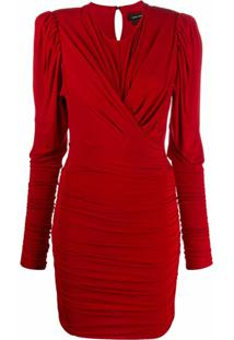 Isabel Marant Vestido Midi Mangas Longas Com Franzido - Vermelho