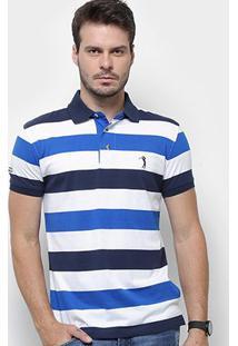 Camisa Polo Aleatory Listrada Fio Tinto Masculina - Masculino-Marinho+Branco