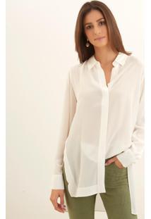 Camisa Le Lis Blanc Helena Slit Glace Seda Branco Feminina (Glace, 46)
