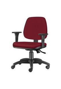 Cadeira Job Com Bracos Assento Crepe Vinho Base Nylon Arcada - 54616 Vinho