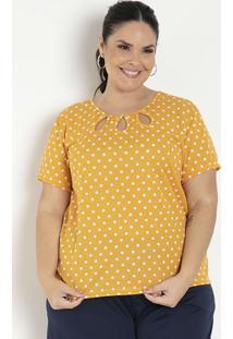 Blusa Poá Amarela Com Gotas Plus Size