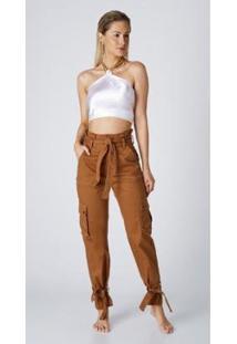 Calça Jeans Express Mom Clochard Priscila Mostarda - Feminino