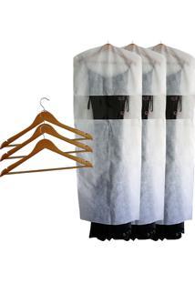 Kit 3 Capas Para Vestido De Tnt Branca + 3 Cabides De Madeira Marfim